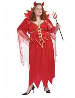 Teufelin Halloween Damenkostüm übergröße rot-gold