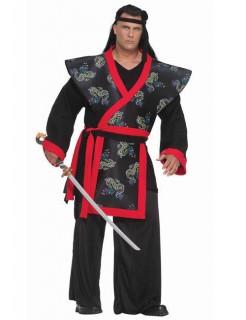 Samurai XXXL Kostüm Asia schwarz-rot