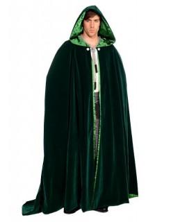 Mittelalter Umhang mit Kapuze lang dunkelgrün