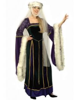 Mittelalter Hofdame Damenkostüm lila-weiss