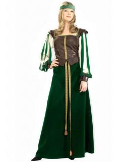 Mittelalter Hofdame Damenkostüm grün-braun-gold