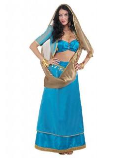 Inderin Bollywood Damenkostüm türkis-gold