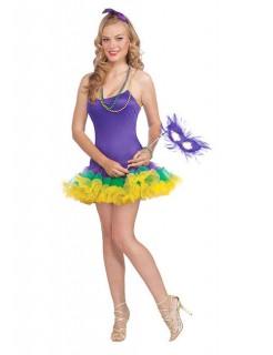 Harlekin Petticoat-Kleid Damenkostüm Zirkus lila-grün