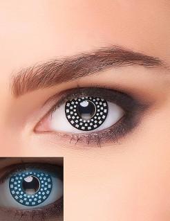 UV Kontaktlinsen Schwarzlicht Schachmuster schwarz-weiss
