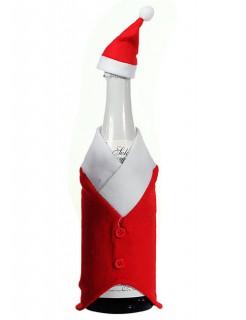 Weihnachtsmann Flaschenkostüme Weihnachts-Deko rot-weiss 24cm
