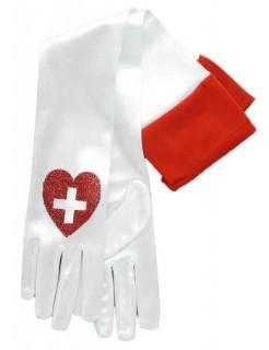 Krankenschwester Handschuhe weiss-rot