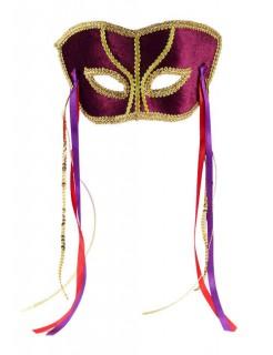 Venezianische Augenmaske mit Bändern bordeaux-gold