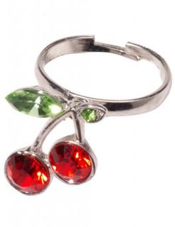 50er Rockabilly Kirschen-Ring silber