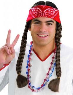 Hippie-Zopfperücke mit Haarband braun-rot