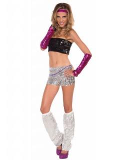 Sexy Disco-Shorts 80er 90er mit Pailletten silber