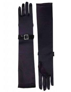 Diva Abend-Handschuhe mit Schleife schwarz