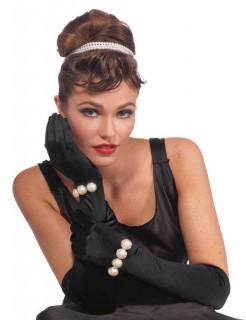 Diva Abend-Handschuhe mit Perlen schwarz