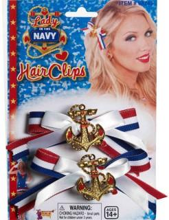 Matrosin Haarschleifen Sailor Girl blau-rot