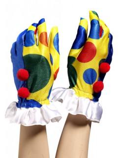 Clown Handschuhe Punkte gelb-bunt