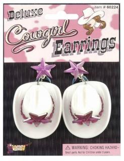 Cowgirl Ohrringe Cowboyhut rosa-weiss
