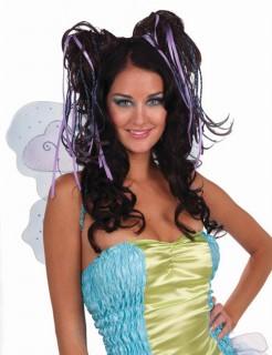 Fee Haarteil Kopfschmuck mit Blumen Elfe lila