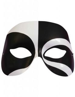 Venezianische Augenmaske Harlekin schwarz-weiss