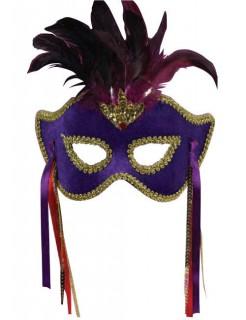Venezianische Augenmaske mit Federn Halloween lila-gold