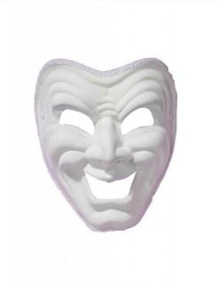 Venezianische Augenmaske Harlekin lachend weiss