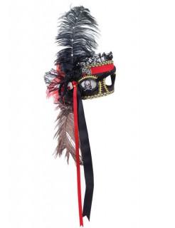 Venezianische Augenmaske Pirat schwarz-rot