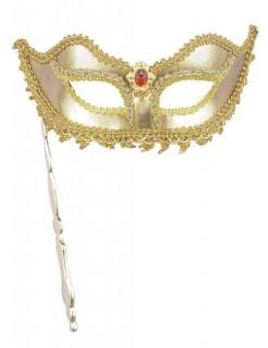 Venezianische Stab-Augenmaske gold