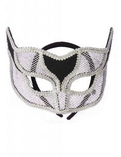Venezianische Augenmaske Netz silber-schwarz