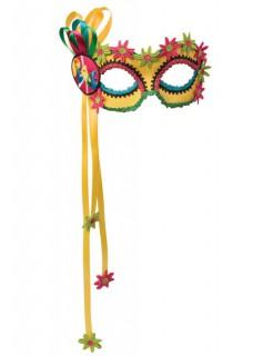Venezianische Augenmaske Hippie gelb-bunt