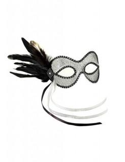 Venezianische Augenmaske mit Federn silber-schwarz