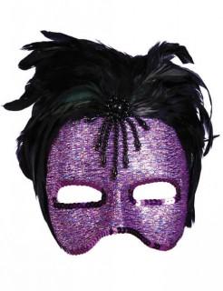 Venezianische Augenmaske mit Federn lila