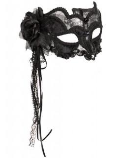 Venezianische Augenmaske Spitze silber-schwarz