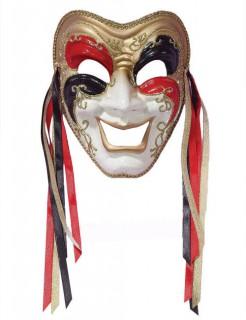 Venezianische Maske Harlekin lachend weiss-gold