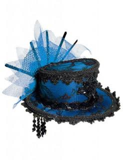 Deluxe Burlesque-Mini-Hut mit Spitze blau-schwarz
