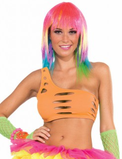 80er 90er Disco Bandeau-Top neon-orange