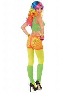 80er 90er Disco Netz-Panty neon-orange