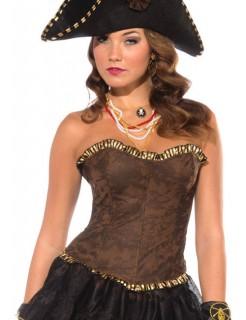 Piratin Corsage Mittelalter braun-gold