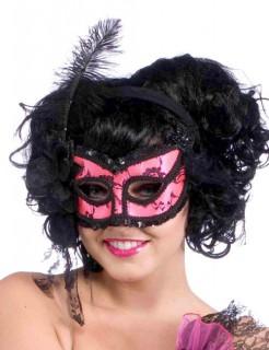 Venezianische Augenmaske Pailletten pink-schwarz