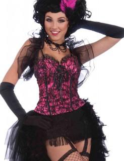 Burlesque Corsage Gothic Spitze pink-schwarz