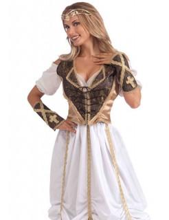 Mittelalter Mieder und Armstulpen Kostüm-Set braun-gold