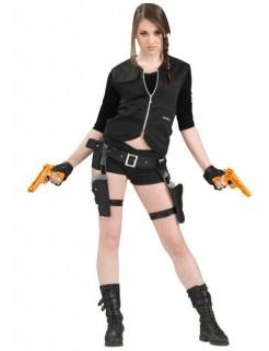 Schatz-Jägerin Holster-Gürtel und Pistolen schwarz-orange