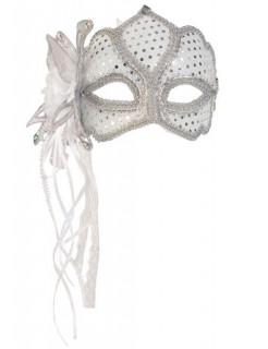 Venezianische Augenmaske Blüte weiss-silber