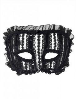 Venezianische Augenmaske Rüschen schwarz