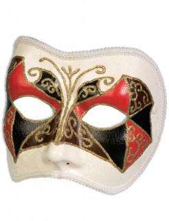 Venezianische Augenmaske Harlekin weiss-rot-schwarz