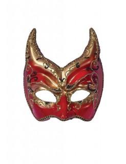 Venezianische Augenmaske Teufel rot-gold