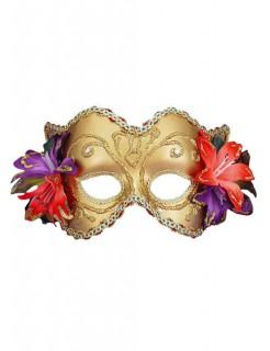 Venezianische Augenmaske Domino Blumen gold