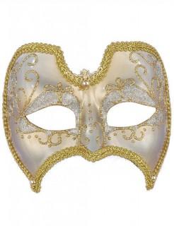 Venezianische Augenmaske Domino Glitzer weiss-gold