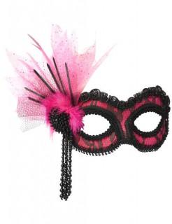 Venezianische Augenmaske Burlesque pink-schwarz