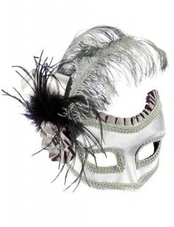 Venezianische Augenmaske Domino Satin silber-schwarz
