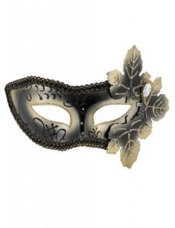 Venezianische Augenmaske Domino Blätter schwarz-gold