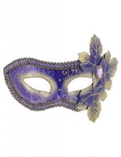 Venezianische Augenmaske Domino Blätter lila-gold
