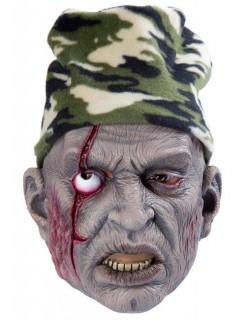 Zombie Halloween-Maske mit Mütze grau-grün